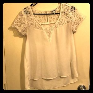 Cream Blouse with Lace Top